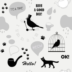 grey british pattern with cat and bird