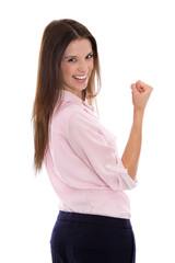 Siegreiche lachende junge Frau motiviert: Portrait freigestellt