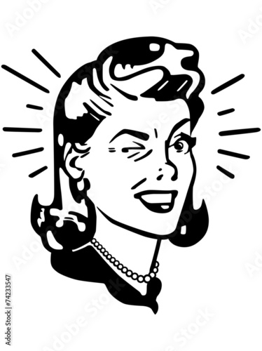 Retro Woman Winking - 74233547