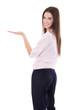 canvas print picture - Junge lachende Business Frau präsentiert mit der Hand