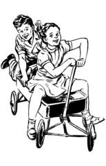 Retro Kids In Wagon