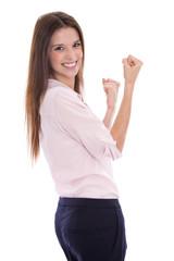 Erfolgreich im Beruf: jubelnde junge Frau isoliert auf weiß