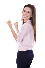 Erfolgreiche junge Frau im Beruf: Portrait freigestellt auf Weiß