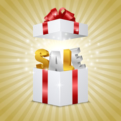 Gift box with letters SALE