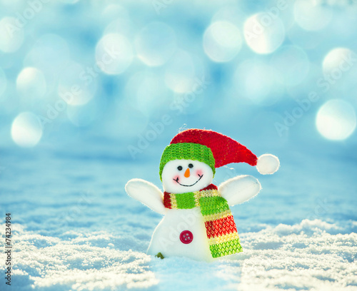 canvas print picture Snowman on snow