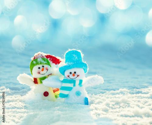 Snowman on snow - 74234986