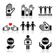 Volunteer, people helping or giving concept icons set - 74235332