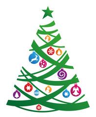 Weihnachtsbaum mit Schmuck