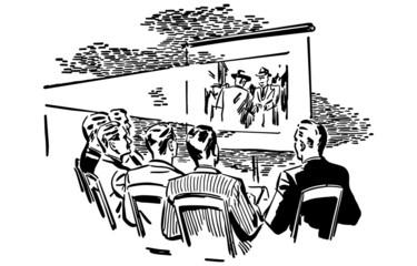 Men Watching Movie