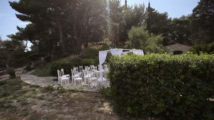 Ready location for the wedding ceremony on the island. Fly shot