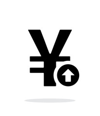 Chinese yuan exchange rate up icon on white background.