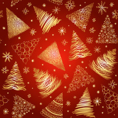 Seamless background with  hand-drawn Christmas trees and snowfla