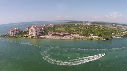 Aerial view of Fisher Island, Miami