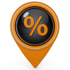 Percent pointer icon on white background