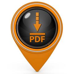 Pdf download pointer icon on white background