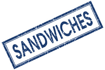 sandwiches blue square stamp isolated on white background