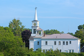 Church and bell tower building in Maine