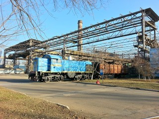 Old vintage train at industrial plant