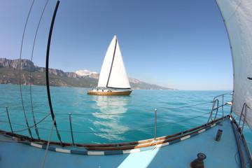 Racing sailing yachts
