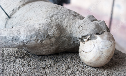 eruption victim of volcano Vesuvius in Pompeii