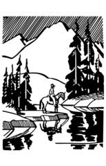 Horse Rider At Mountain Lake