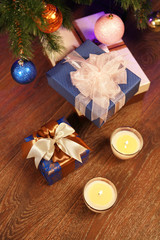 Christmas boxes with two candle