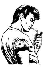 Greaser Lighting Cigarette