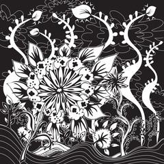 Design Fleurs Feuillage dans Paysage Imaginaire Noir Blanc