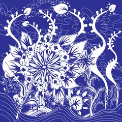 Design Fleurs Feuillage dans Paysage Imaginaire Bleu Blanc