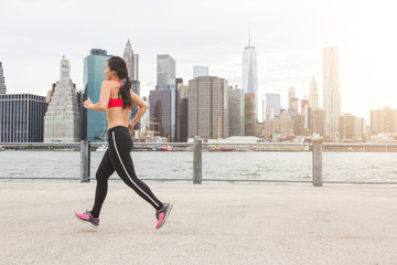 Asian Girl Jogging in New York