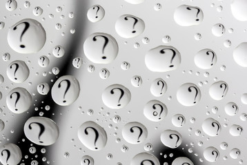 water drops with question mark