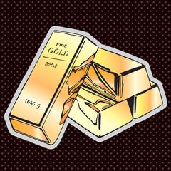 Gold bullion, more gold, vector draw illustration