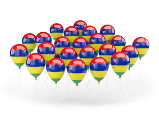 Balloons with flag of mauritius
