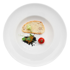 Gourmet dish of ground olives, bread and tomato