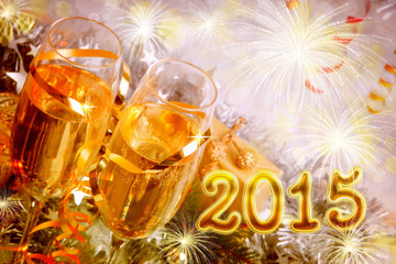 2015 and two glasses of champagne.