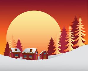 Snowy scene with the sunrise