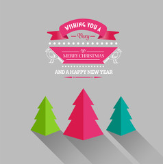 Merry christmas and happy new year vector with trees