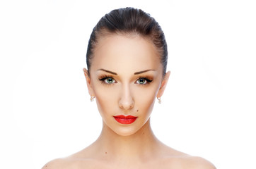 Young beautiful woman with red lips on white background