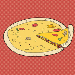 Pizza Over Red Background