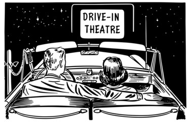 Couple At Drive-In Theatre