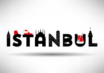 Istanbul Typographic Design with Symbols of Istanbul