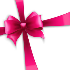 Invitation card with pink holiday ribbon and bow