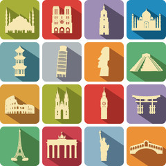 set of computer icons to the tourist attractions