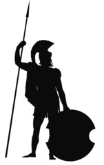 Spartan warrior with shield and spear  vector silhouette