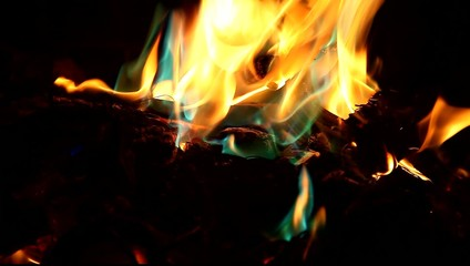 Fire flames orange and blue on black background
