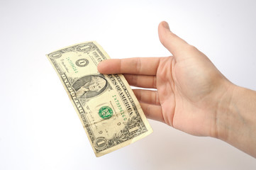 hand on a white background stretches of banknotes in denominatio