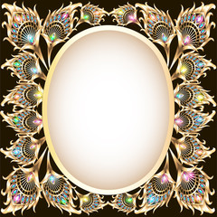 background frame with gold ornament in the form of a peacock fe