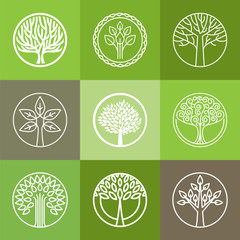 Vector tree logo set