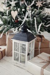 Christmas tree with presents and lantern