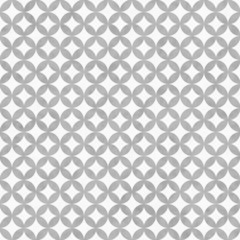 Gray and White Interconnected Circles Tiles Pattern Repeat Backg